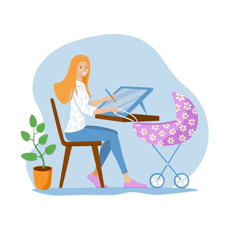 Young mom freelancer works on a graphics tablet and babysit a baby in a pram. Woman designer draws. Concept of work from home and remote work. Vettoriali