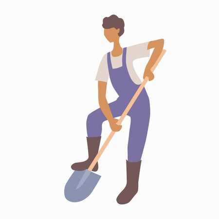 Young man in overalls and boots digs the ground with a shovel. Worker or gardener. Soil cultivation. Hobby or business growing garden vegetables or fruits. Stock vector illustration isolated on white.