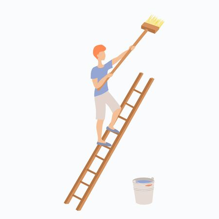 A young redhaired man is standing on a ladder with a large brush or mop in his hands. The guy paints or washes something with a bucket standing below. Stock vector flat illustration isolated on white. 向量圖像