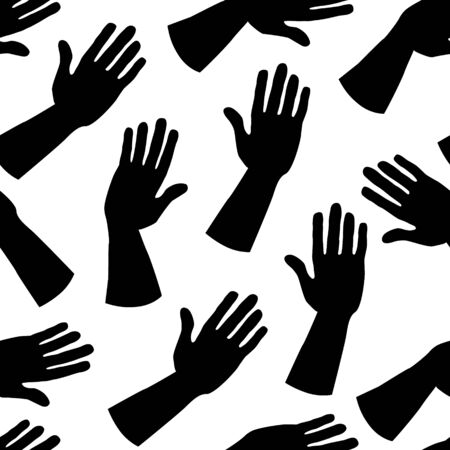 Seamless pattern of black silhouettes of hands. Palms in a greeting or giving gesture. For wrapping, scrapbooking paper, banners. Stock flat vector illustration isolated on transparent background.