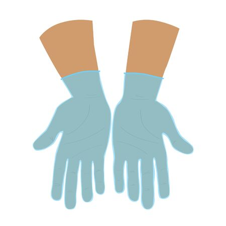 Two open adult Caucasian hands with palms up in protective gloves. Offering and giving gesture. Hand drawn hands for icon or logo. Stock vector flat illustration isolated on white background.