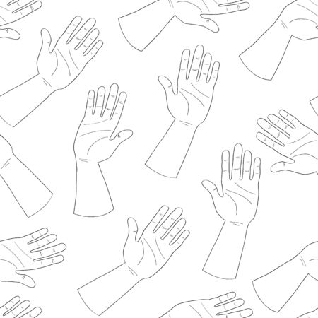 Seamless pattern of outline doodle hands. Palms in a greeting or giving gesture. For wrapping, scrapbooking paper, banners. Stock vector illustration isolated on white background. Vectores