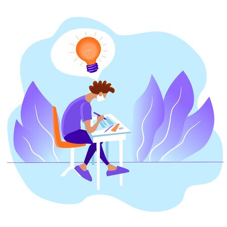 The concept of insight and getting an idea. A guy in face mask with a light bulb above his head is sitting and writing on a sheet of paper. Stock vector violet flat illustration isolated on white.