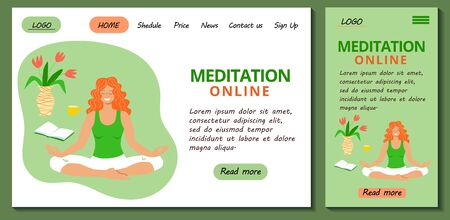Web page and app mobile design template for online yoga and neditation classes. Redhead girl meditates sitting in lotus position at home. Stock modern flat illustration concept for landing page.