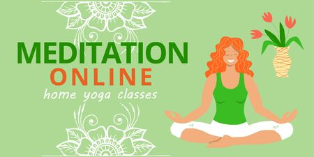 Banner for web page template. Meditation and yoga classes online advertising. Redhead girl meditates and relaxes in the lotus position and mehendi patterns for design. Stock vector flat illustration. Illusztráció