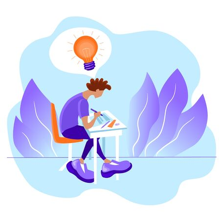 A guy with a light bulb above his head is sitting and writing on a sheet of paper. The concept of insight and getting an idea. Stock vector violet flat illustration isolated on white background. Vektorgrafik