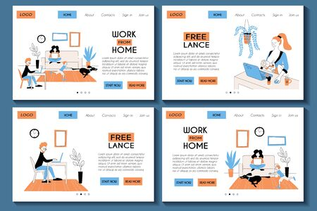 Web site templates set. Landing page for working from home and freelancing. Family of freelancers works with laptops. . Flat modern stock illustration. Website design easy to edit and customize. Çizim