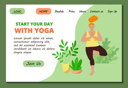 Web page template for Home yoga online classes. Beautiful overweight girl doing asana tree. Body positive. Stock modern flat illustration for landing page. Website design easy to edit and customize.