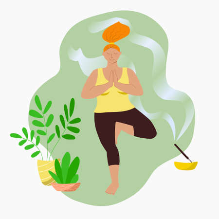Overweight girl doing yoga asana at home, in quarantine self isolation. Body positive red head woman in a tracksuit is standing in a tree pose. Ilustracja