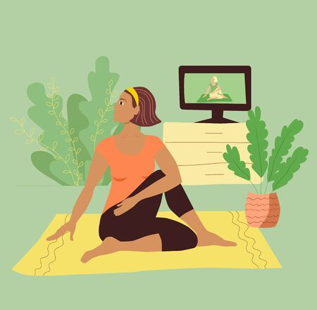 A girl in a tracksuit practices yoga on a mat at home during quarantine. Pretty young woman with dark hair does asana. Sports during self-isolation. Stock vector flat illustration isolated.