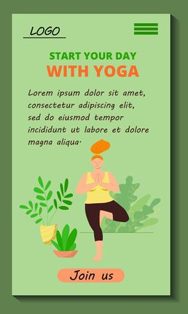 Mobile application Start your day with yoga. Body positive girl doing asana. Stock vector flat modern illustration. User interface template. Mobile version of the website of the yoga online studio.