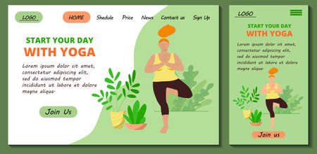 Web page and app mobile design template for online yoga and meditation classes. Redhead body positive girl doing morning yoga asana at home.