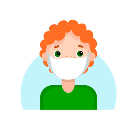 Face of a red-haired boy with freckles in mask. Cartoon portrait of a young man.
