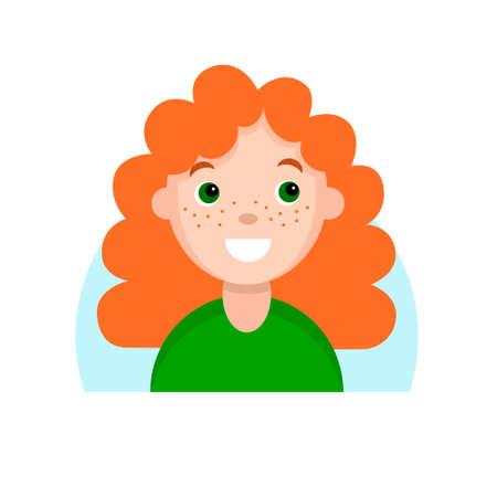 Face of a smiling red-haired girl with freckles. Cartoon portrait of a young woman. Avatar character for an icon, hand drawn simple flat. Stock vector illustration isolated on white. Ilustrace