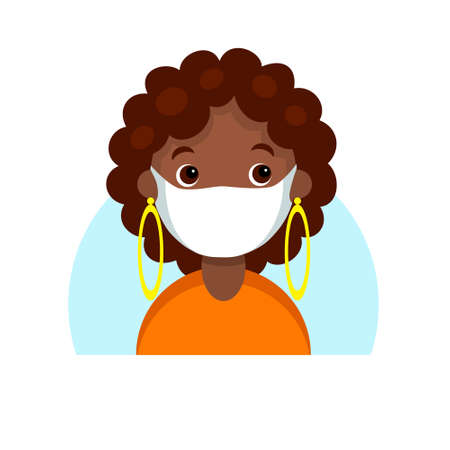 Face of a dark skinned girl in mask. Cartoon portrait of a young african woman. Avatar character for an icon, logo, hand drawn simple flat. Stock vector illustration isolated on white.  イラスト・ベクター素材