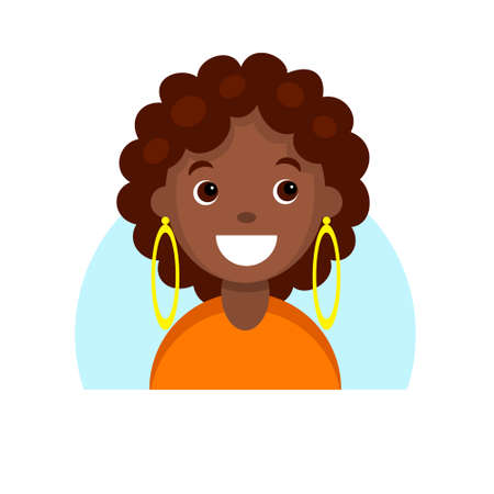 Face of a smiling dark skinned girl. Cartoon portrait of a young african woman. Avatar character for an icon, logo, hand drawn simple flat. Stock vector illustration isolated on white.