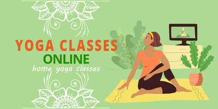 Banner for web page template. Meditation and yoga classes online advertising. A girl in a tracksuit sits on the floor in the home interior doing asana.