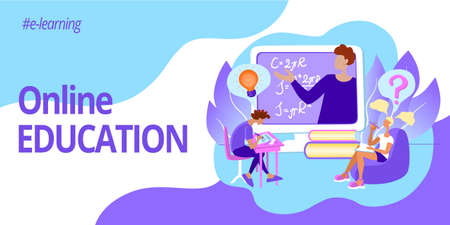 Banner for web page template. Online education and e-learning. Teacher on a computer screen and students at an online lecture.  イラスト・ベクター素材