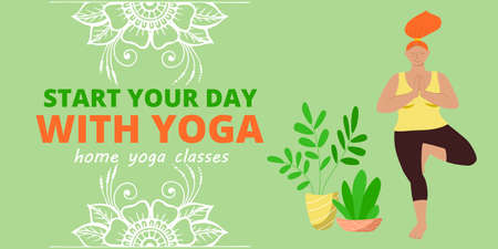 Banner for web page template. Meditation and yoga classes online advertising. Redhead girl is doing tree asana position and mehendi patterns for design.  イラスト・ベクター素材