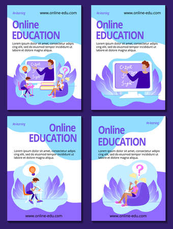 Vertical poster Education online template set. E-learning classes advertising. Teacher and students at a webinar. Home schooling concept. Stock vector flat illustration.