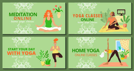 Banner for web page templates set. Meditation and yoga classes online advertising. Girls in tracksuits are doing asanas ans meditate in the home interior . Stock vector flat illustration.