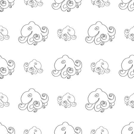 Seamless pattern of cute octopuses, hand drawn black doodle outline. Marine residents poulpe, ocean background for wrapping, scrapbooking paper, banner. Stock vector isolated.