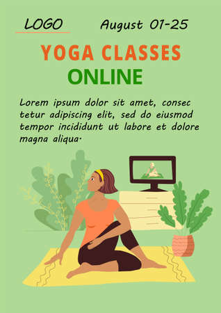 Poster Home yoga template. A slender girl in a tracksuit doing an asana. Online relaxing practice. Advertising classes in the studio of yoga and Pilates. Stock vector flat modern illustration.