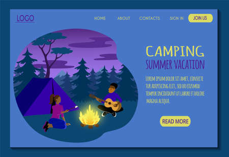 Web page template for summer camping and hiking site. The couple rests near the campfire with a guitar and fries marshmallows. Stock flat illustration for landing page. Website design easy to edit.