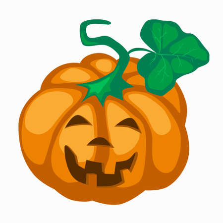Big orange pumpkin with eyes cut out nose and grin mouth for Halloween. Jack lantern a symbol of the holiday eve of All Saints Day. Stock vector flat illustration isolated on white background. Çizim