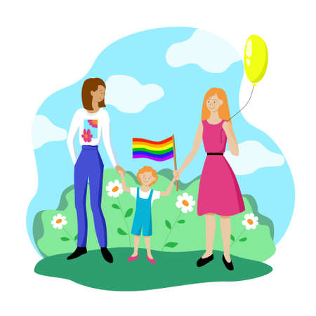 Lesbian couple with a child are walking with a rainbow flag. Gay parade in support of the LGBT community. Pride symbol. Family of queer people. Stock vector flat modern illustration isolated on white.