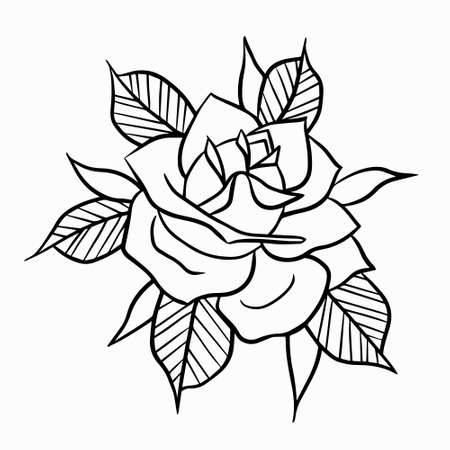 Old School Rose Tattoo Black Outline. Coloring page print for t-shirt postcards icons.