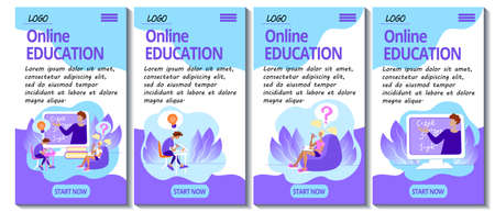 Set of 4 mobile app page templates. Mobile version of the E-learning site. Home education concept. Teacher and students study remotely online.