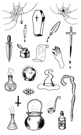 A set of magical witch items. Cauldron coffin hat staff flasks with potion spider web with spiders hand inkwell spell scroll dagger magic ball. Stock vector hand drawn illustration isolated on white. 向量圖像