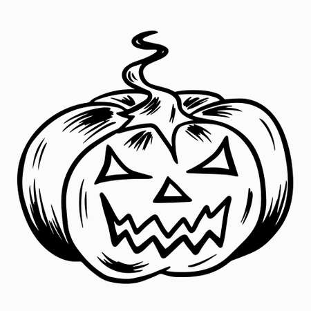 Halloween pumpkin. Hand drawn doodle symbol of All Saints Day. A large pumpkin with a tail and cut eyes and a grin of mouth. Stock vector black outline illustration isolated on white. Vettoriali