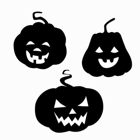 Black silhouette pumpkin with cut out eyes nose and grin mouth for Halloween. Jack lantern a symbol of the holiday eve of All Saints Day. Stock vector flat illustration isolated on white. Vettoriali