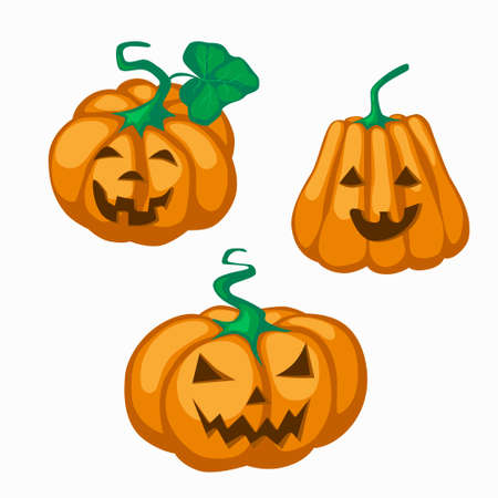 Big orange pumpkin with eyes cut out nose and grin mouth for Halloween. Jack lantern a symbol of the holiday eve of All Saints Day. Stock vector flat illustration isolated on white.