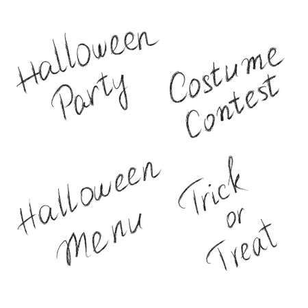 Hand drawn lettering Halloween Party Halloween Menu Trick Or Treat Costume Contest.