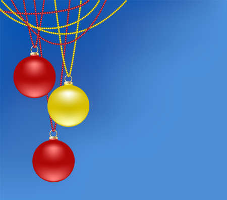 Christmas balls red and gold hanging on garlands of beads.