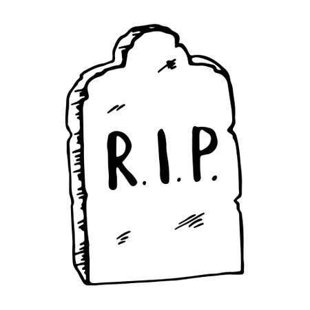 Vintage shabby headstones set. Hand drawn doodle sketch black outline gloomy gravestones for Halloween card banner poster. Stock illustration isolated on white background. Vettoriali