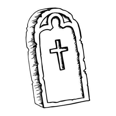 Vintage shabby headstones set. Hand drawn doodle sketch black outline gloomy gravestones for Halloween card banner poster. Stock illustration isolated on white background.