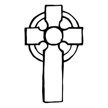 Vintage shabby headstones celtic cross. Hand drawn doodle sketch black outline gloomy gravestone for Halloween card banner poster. Stock illustration isolated on white background. Çizim