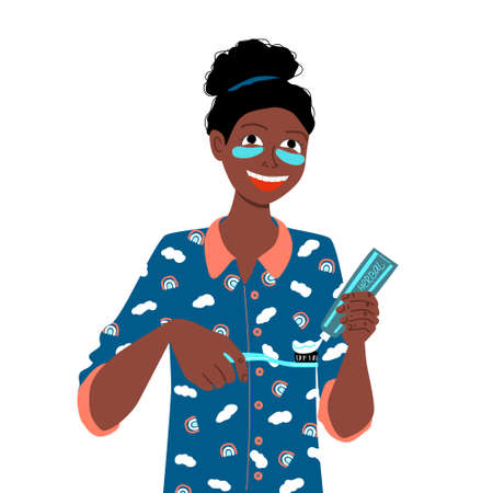 Daily dental care. Dark skinned afro girl in pajamas with patches on face brushes teeth with herbal paste. Morning and evening self care routine. Stock vector flat illustration isolated on white.