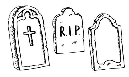 Vintage shabby headstones set. Hand drawn doodle sketch black outline gloomy gravestones for Halloween card banner poster. Stock vector illustration isolated on white background. Stock Illustratie