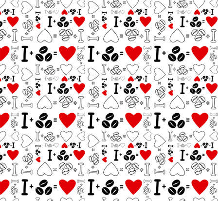 Seamless pattern with text I love coffee black and white with red hearts. Hand drawn lettering coffee beans and hearts. Stock vector illustration isolated on white background.