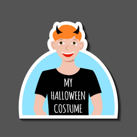 Sticker red haired boy in a T shirt with the words My Halloween costume and horns on his head. Carnival party. Avatar for social media. Stock vector hand drawn flat illustration isolated on white. 向量圖像