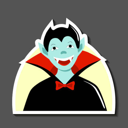 Sticker a child in carnival costume Dracula. Attribute for happy halloween party. Black cloak and fangs. Cute funny vampire. Stock vector flat illustration isolated on white background.  イラスト・ベクター素材