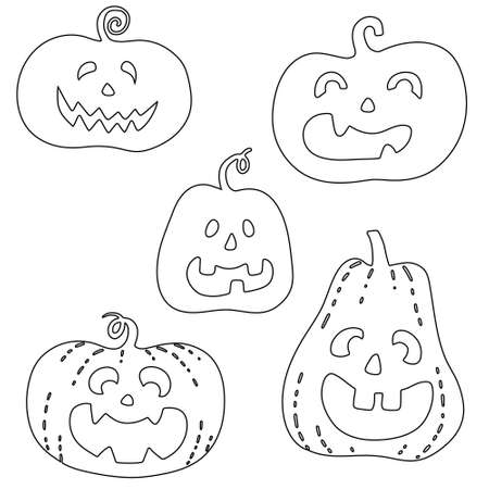 Halloween smiling spooky pumpkin set. Doodle black outline silhouette of holiday symbol vegetable for coloring postcards posters. Stock vector hand drawn illustration isolated on white background.