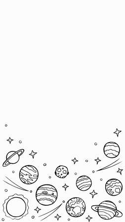 Cosmos template for stories, empty space for text. Hand-drawn doodle stars and planets of the solar system. Vertical format, painted door. Stock vector illustration isolated on transparent background.