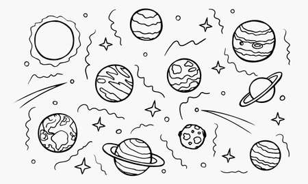 Planets of galaxy hand drawn doodle set. Cosmic Space line art universe. Solar system and celestial bodies for the banners cards design. Stock vector illustration isolated on transparent background.