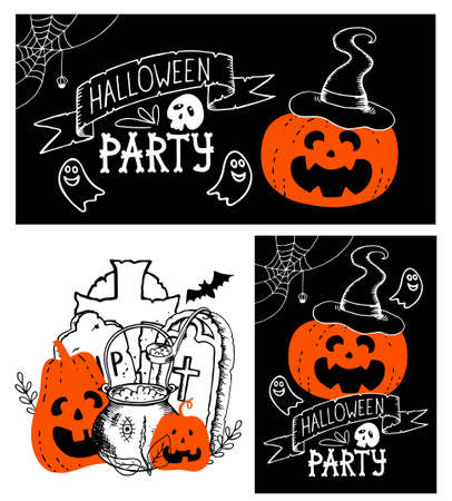 Halloween set - vertical poster horizontal banner illustration. Hand drawn doodle pumpkin fool moon bat silhouette spider web cauldron autumn leaves lettering blood drops. Stock vector illustration.